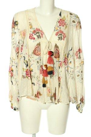 Zara Woman Blusenjacke creme-rot Blumenmuster Casual-Look