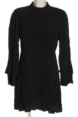 Zara Woman Blusenkleid schwarz-weiß Allover-Druck Elegant