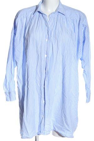 Zara Woman Blusenkleid blau-weiß Streifenmuster Casual-Look