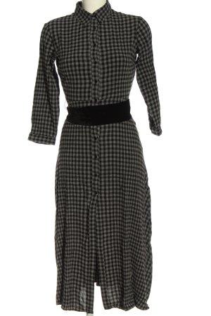 Zara Woman Blusenkleid schwarz-hellgrau Karomuster Casual-Look