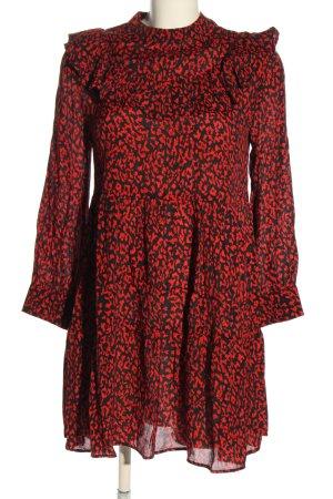 Zara Woman Blusenkleid schwarz-rot Allover-Druck Casual-Look
