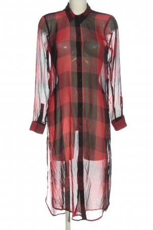 Zara Woman Blusenkleid rot-schwarz Karomuster Casual-Look