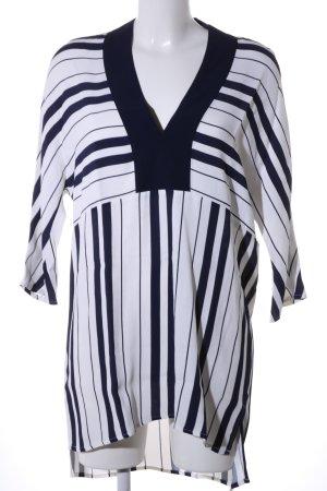 Zara Woman Blusenkleid schwarz-weiß Streifenmuster Casual-Look