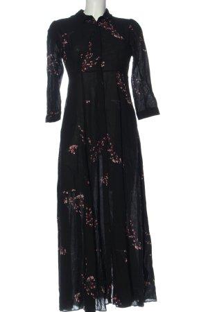 Zara Woman Blusenkleid schwarz-lila Allover-Druck Casual-Look