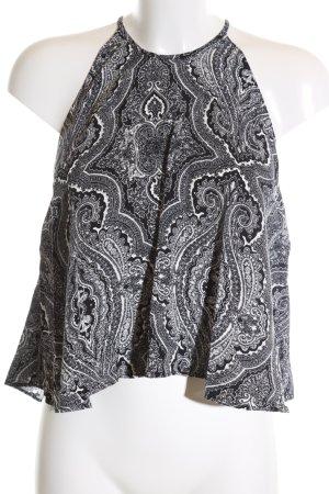 Zara Woman Blusentop schwarz-weiß grafisches Muster Casual-Look