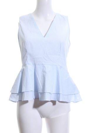 Zara Woman Blusentop blau-weiß Streifenmuster Casual-Look