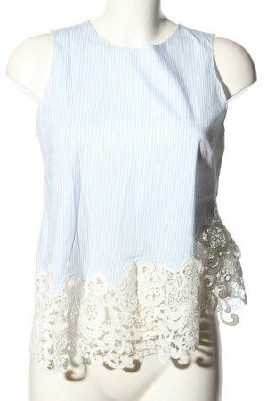 Zara Woman Blusentop weiß-blau Streifenmuster Casual-Look