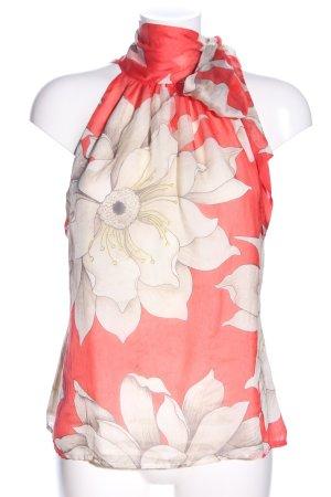 Zara Woman Blusentop rot-wollweiß Blumenmuster Elegant