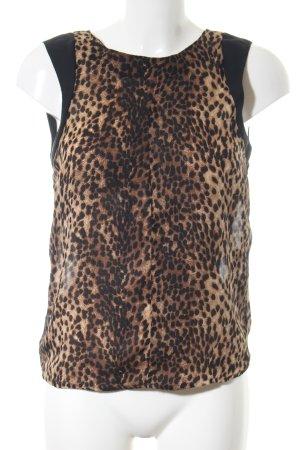 Zara Woman Blusentop braun-schwarz Allover-Druck Elegant