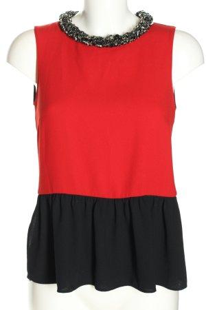 Zara Woman Blusentop rot-schwarz Casual-Look