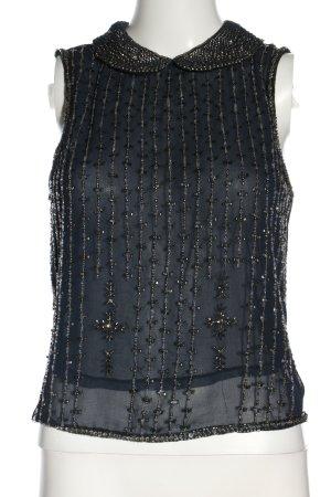 Zara Woman Blusentop hellgrau-blau Business-Look