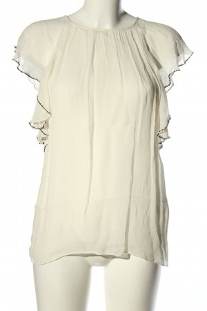 Zara Woman Blusentop weiß-schwarz Business-Look