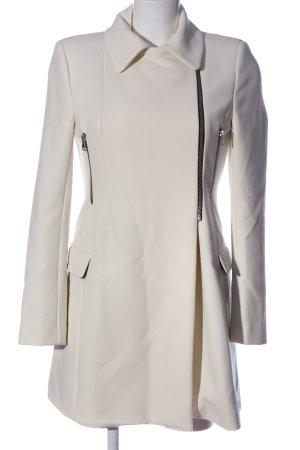Zara Woman Długi płaszcz w kolorze białej wełny W stylu casual