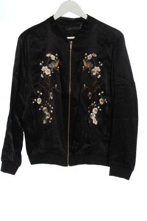 Zara Woman Bomberjack zwart-bruin bloemenprint casual uitstraling