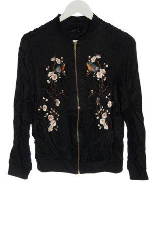 Zara Woman Bomberjack zwart bloemenprint casual uitstraling
