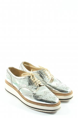 Zara Woman Wingtip Shoes silver-colored wet-look