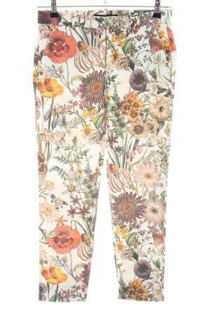 Zara Woman Bundfaltenhose creme-hellorange Allover-Druck Business-Look