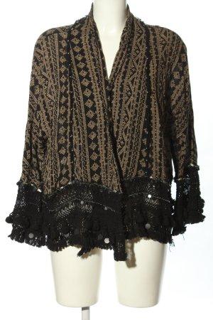Zara Woman Cape schwarz-braun Mustermix Casual-Look