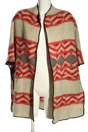 Zara Woman Cardigan creme-rot grafisches Muster Casual-Look