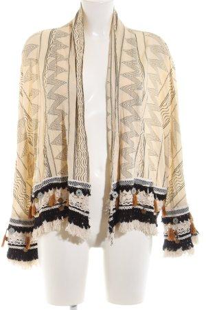 Zara Woman Cardigan creme-schwarz Allover-Druck Casual-Look