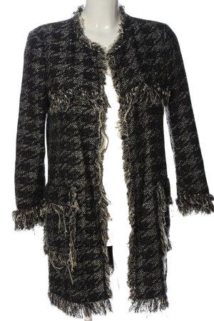Zara Woman Cardigan schwarz-hellgrau Allover-Druck Casual-Look