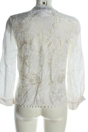 Zara Woman Cardigan weiß Blumenmuster Business-Look