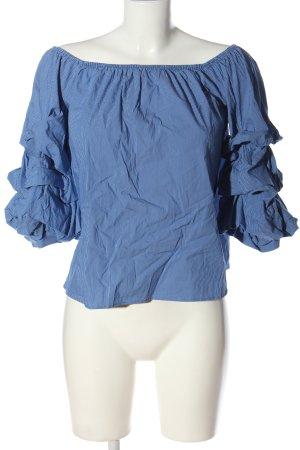 Zara Woman Carmen Blouse blue-white allover print casual look