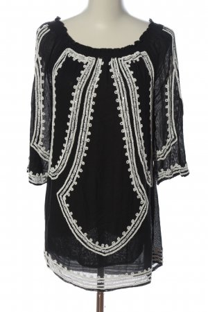 Zara Woman Blouse Carmen noir-blanc imprimé allover style décontracté