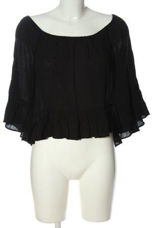 Zara Woman Blouse Carmen noir style décontracté