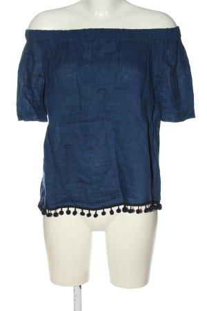 Zara Woman Carmen-Bluse blau meliert Casual-Look