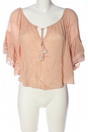 Zara Woman Carmen-Bluse pink abstraktes Muster Casual-Look
