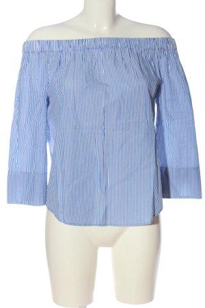 Zara Woman Blusa tipo Carmen azul-blanco estampado a rayas look casual
