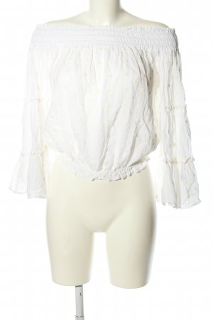Zara Woman Blouse Carmen blanc imprimé allover style décontracté