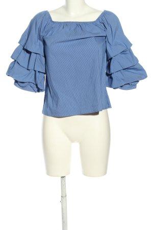 Zara Woman Carmen-Bluse blau-weiß Streifenmuster Casual-Look