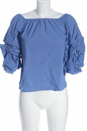 Zara Woman Blouse Carmen bleu-blanc motif rayé style décontracté