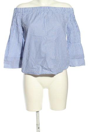 Zara Woman Carmen Blouse blue-white striped pattern casual look