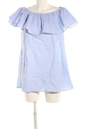 Zara Woman Bluzka typu carmen niebieski-biały Wzór w paski W stylu casual