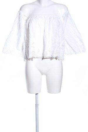Zara Woman Carmen-Bluse weiß Mustermix Casual-Look