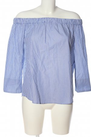 Zara Woman Carmen-Bluse blau-weiß Allover-Druck Casual-Look