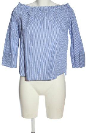 Zara Woman Blouse Carmen bleu-blanc imprimé allover style décontracté