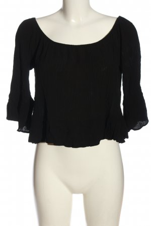 Zara Woman Bluzka typu carmen czarny W stylu biznesowym