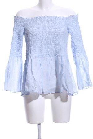 Zara Woman Carmen-Bluse himmelblau Casual-Look