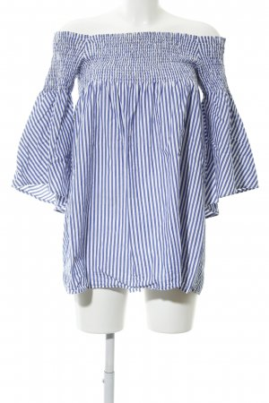 Zara Woman Carmen Shirt blue-white striped pattern casual look