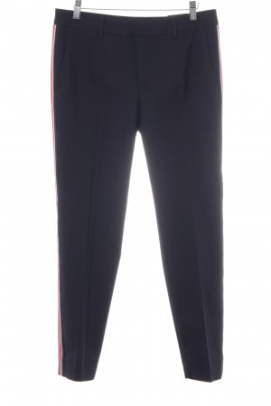 Zara Woman Chinohose dunkelblau-rot Streifenmuster Business-Look