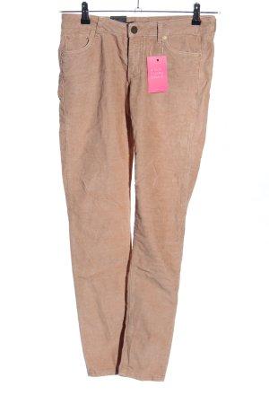 Zara Woman Pantalon en velours côtelé rose chair style décontracté