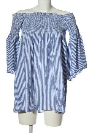 Zara Woman Kreukelblouse blauw-wit volledige print zakelijke stijl