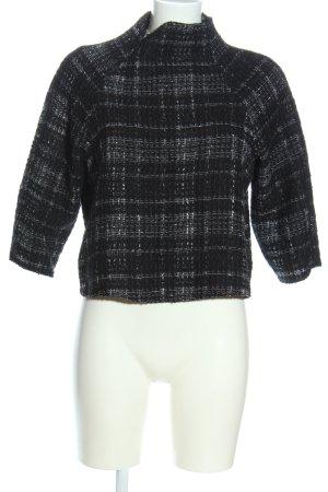Zara Woman Cropped Pullover schwarz-weiß Karomuster Casual-Look