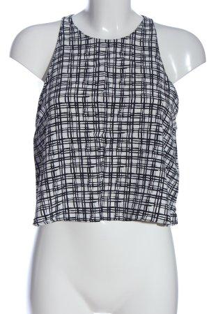 Zara Woman Cropped Top weiß-schwarz Karomuster Casual-Look
