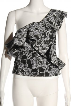 Zara Woman Cropped Top schwarz-weiß Blumenmuster Casual-Look