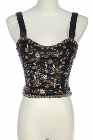 Zara Woman Cropped Top schwarz-bronzefarben Glitzer-Optik